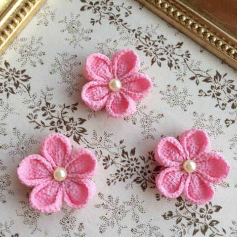 つまみ細工の花パーツ丸つまみ薄桃色3個セット