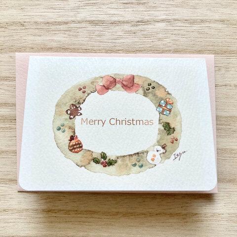 🎄透明水彩画「クリスマスリース」北欧イラストミニカード2枚セット クリスマス クリスマスカード🎄