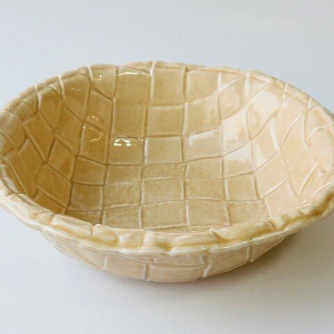 磁器の大鉢(キャラメルベージュ) 現品限り