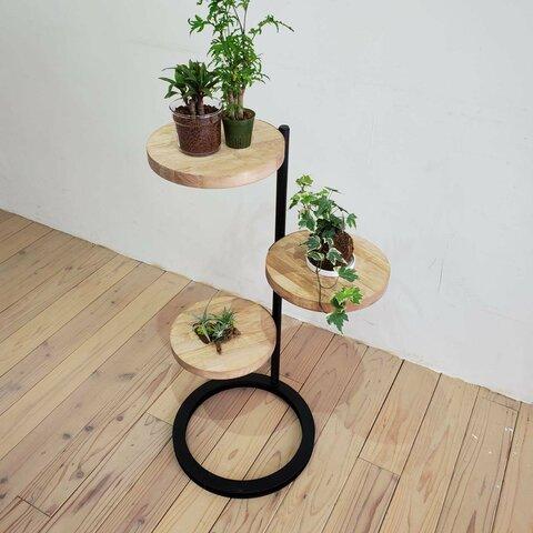 ◆新作◆360度回転シェルフ円形 ラック 棚 アイアン 観葉植物 キャンプ インテリア