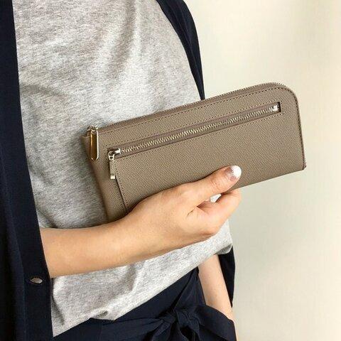 薄くて軽くて大容量な長財布 14ZipWallet 牛革 トープグレー Squeeze スクイーズ 日本製