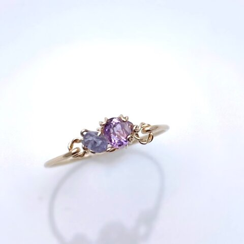 [14kgf]Sweet antique - タンザナイトとピンクアメジストの立爪ふうワイヤーリング 天然石