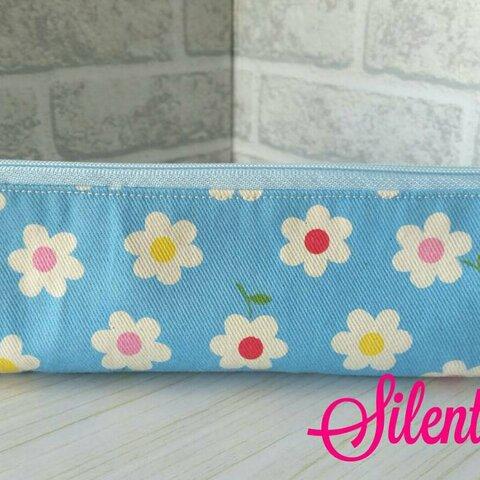 《Sale》春のお花のペンケース (ブルー)