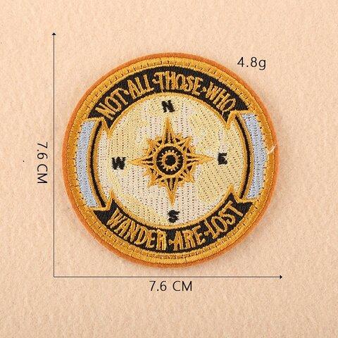 方位磁針 ワッペン アップリケ アイロン対応 1枚
