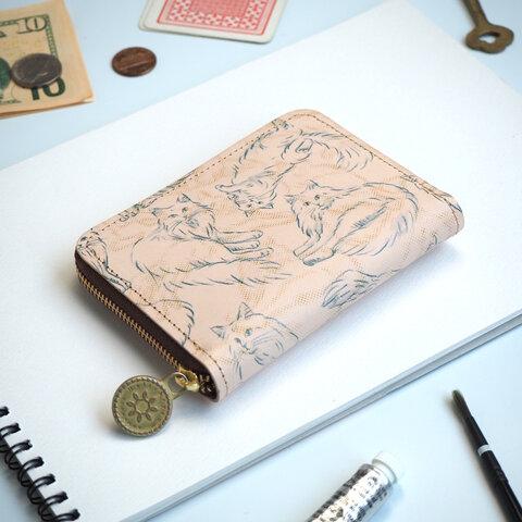 ラウンドファスナー コンパクト財布(ノルウェージャン フォレスト キャット)革 レディース
