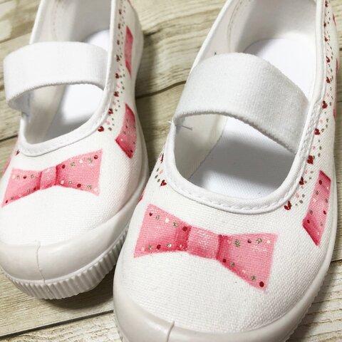 お絵描きうわばき(うわぐつ) きらきらドットリボン ピンク/上履き/上靴