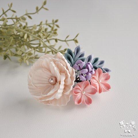 牡丹と桜✤コーム つまみ細工 髪飾り お呼ばれ 結婚式 フォーマル 入学式