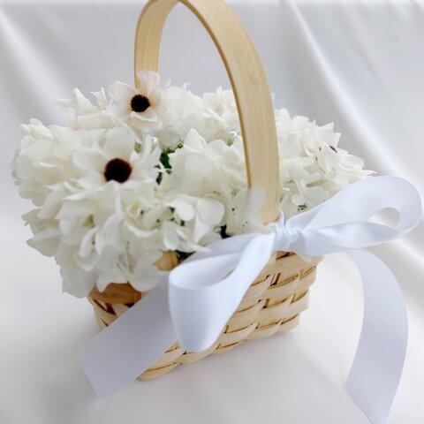 再販!ナチュラル、リングピローかご。アネモネ紫陽花オフホワイト。