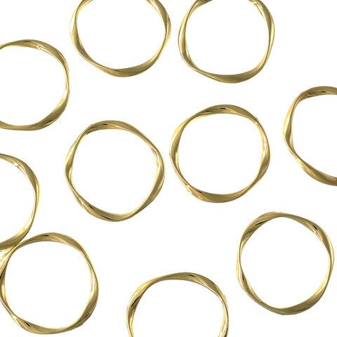 送料無料 ラウンドパーツ 30mm リング ねぢり加工 ゴールドKC金 10個 チャーム フープ フレームパーツ 丸 アクセサリーパーツ AP1741