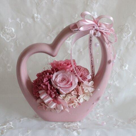 ハート型 ピンクのバラプリザーブドフラワー