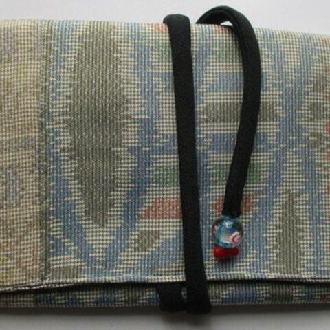 5895 色大島紬の着物で作った和風財布・ポーチ#送料無料
