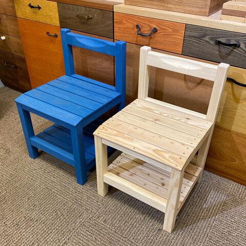 *スクールチェア*レトロなデザインが可愛い、カラマツ材の椅子。
