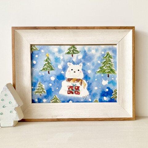 🎄A4ポスター 透明水彩画 「しろくまくんからの贈り物」北欧イラスト クリスマスインテリア クリスマスギフト クリスマス クリスマスポスター クマ くま シロクマ🎄