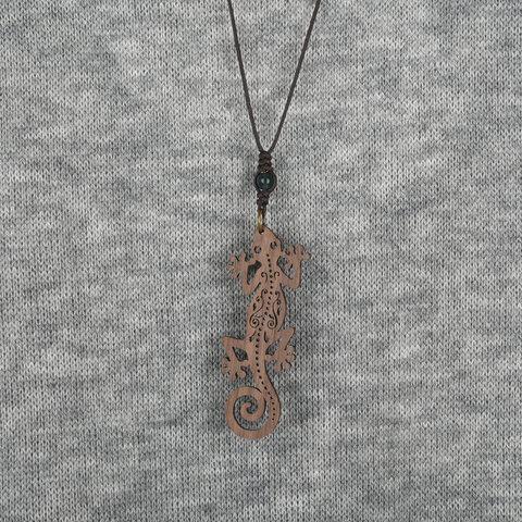ヤモリのネックレスMONTANA クルミの木のウッドアクセサリー