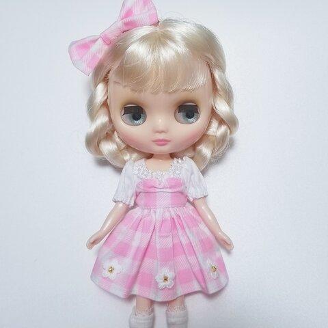 ミディ☆ピンクスギンガムチェックのワンピース ブライス ワンダーフレンド ARomantic