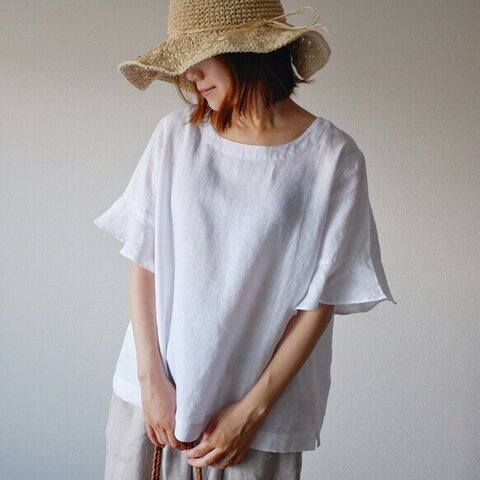 ブラウス シンプル リネン 大人かわいい 夏 ナチュラル 麻 白 ホワイト T108-F-W