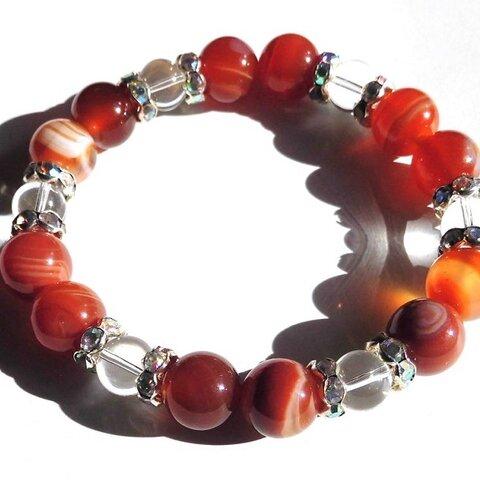 天然石 六芒星 良縁 出会い 夫婦円満 紅縞瑪瑙 10mm 水晶 ブレス
