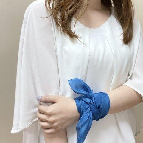 天然藍染めスカーフ 絹 シルク silk