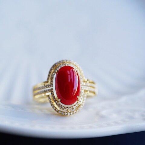 「幸運・コーラル」K18WG 天然上品血赤珊瑚宝石 天然ダイヤモンド リング 生命力 女性 厄除け お守り3月誕生石