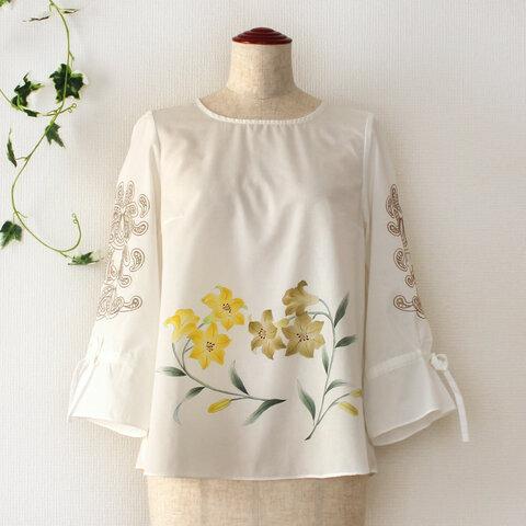 【送料無料】タカサゴユリの手描き袖刺繍ブラウスM