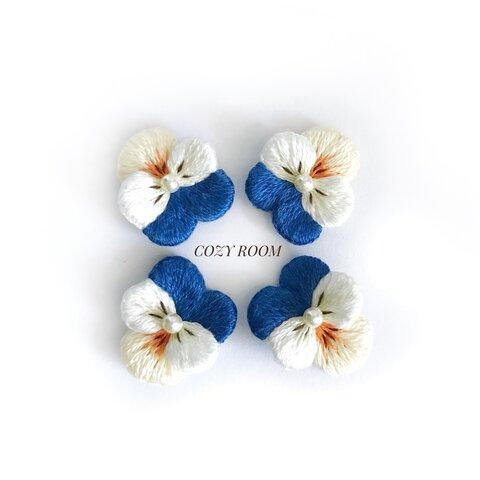 【Viola】ビオラ刺繍ピアス 2wayキャッチ付き(ネイビーxホワイト)『特集掲載』