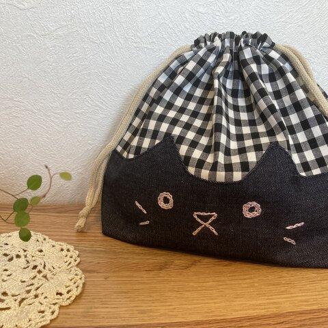 ネコお弁当袋 ギンガムチェック✖️デニム