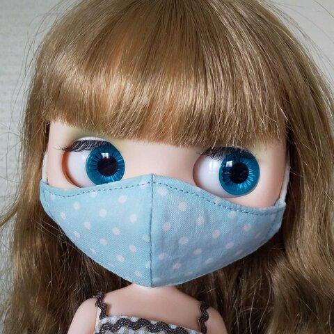 ブライス用立体マスク ブルー水玉