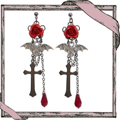 ゴシック・パンク・ゴスロリヴィジュアル系薔薇&コウモリ&十字架のピアス/赤イヤリング変更可