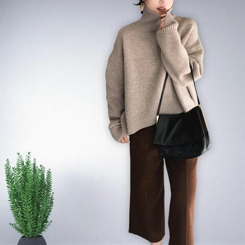 グレージュ 長袖 セーター ニット トップス ハイネック レディース 冬 無地 おしゃれ 通勤 ゆったり 上品 ナチュラル 体型カバー 気品