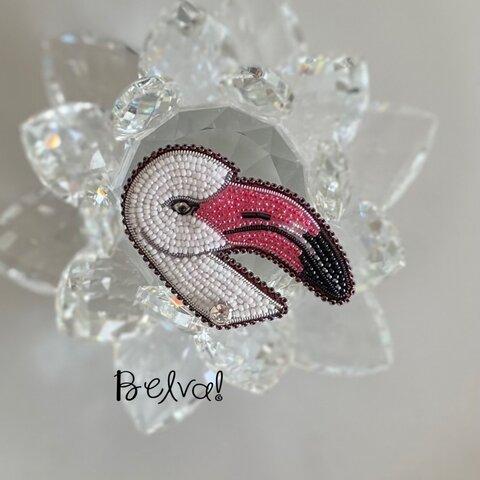 ビーズ刺繍ブローチ -フラミンゴ-