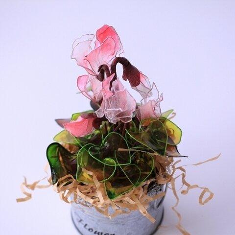 【組み立てキット】シクラメン ☆.。.:*・゜ブリキ缶 ☆.。.:*・゜鉢植え  花 ディップアート