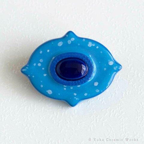 ☆磁器製ブローチ(カルテット:ラムネ)ブルー