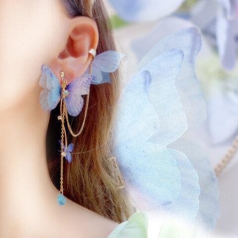 《プリエール》夢見る姉妹蝶のイヤーカフ