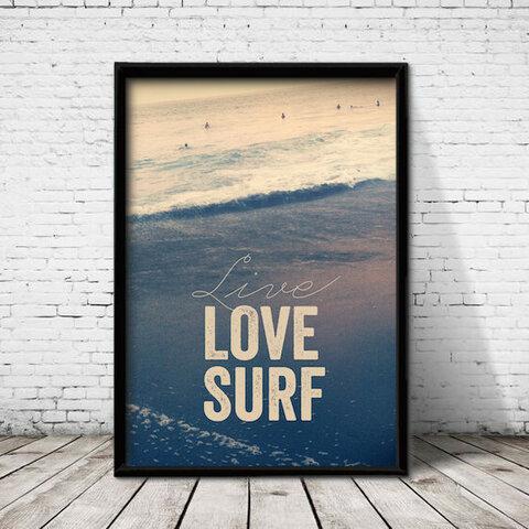 アートポスター544 LOVE SURF☆ 額縁付 インテリアポスター
