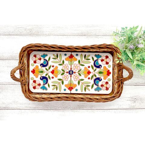 スペインタイルのカゴトレー『花と鳥(白)』