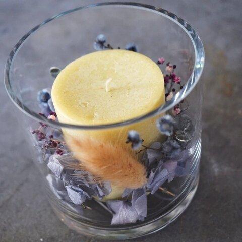 ドライフラワー(アジサイ)キャンドルグラス
