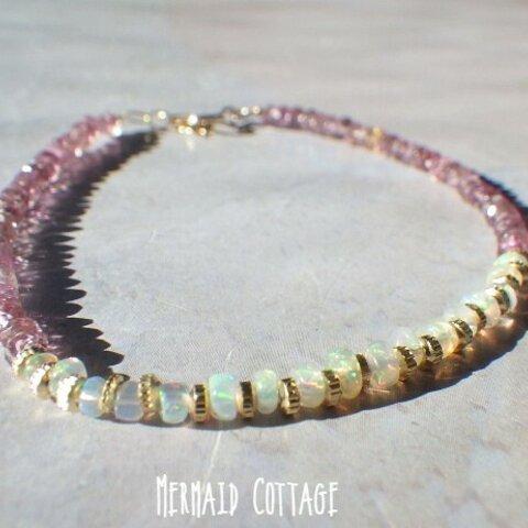 【10月誕生石】14kgf*Opal Sunet Bracelet オパール&ピンクトルマリン☆アジャスター
