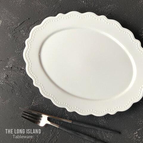 レリーフ リム花プレート オーバル 28cm 楕円 つやあり ホワイト /r143wh