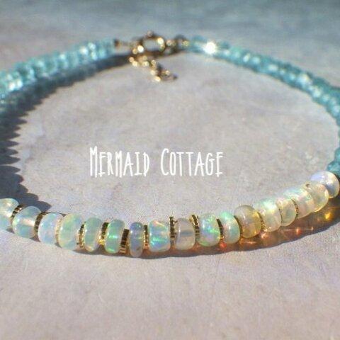 【10月誕生石】14kgf*Opal & Sea Bracelet プレシャスオパール&アパタイト☆アジャスター