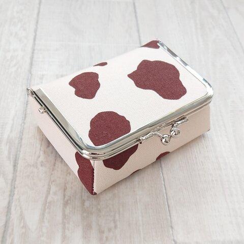 ホルスタイン柄 ボックスがま口 カードケース ブラウン×ライトベージュ 牛柄 シンプル