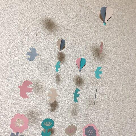 花と鳥と気球のモビール(PK)