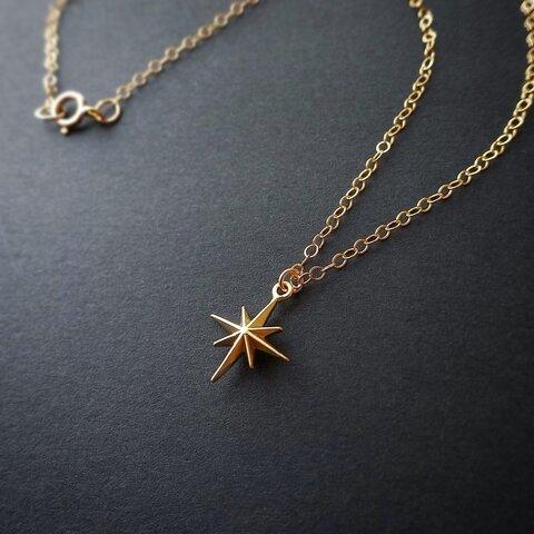 一番星の14kgfネックレス 華奢 小ぶり 小さめ ゴールド アレルギー対応 星 ネックレス