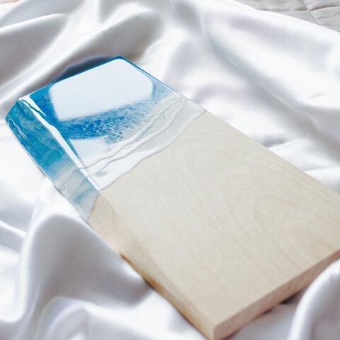 カバノキ(シラカバ) (北海道産) 海のアートパネル(小さな海シリーズ) レジンアート 天然木 コースター プレート アクセサリートレイ