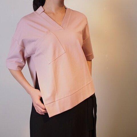 スタンドカラーの半袖カットソー(サクラピンク)