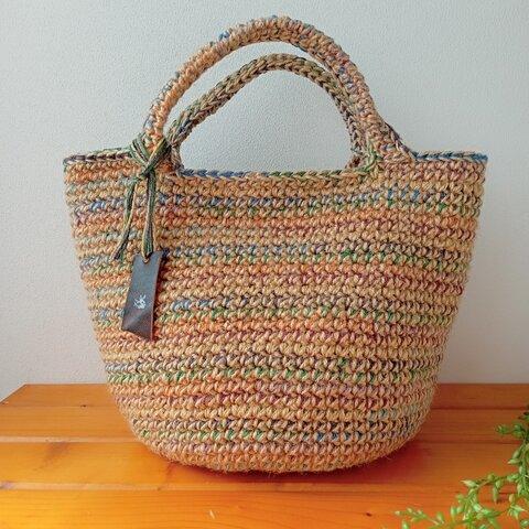 【新作・1点もの】秋冬カラフルな麻ひものバッグ