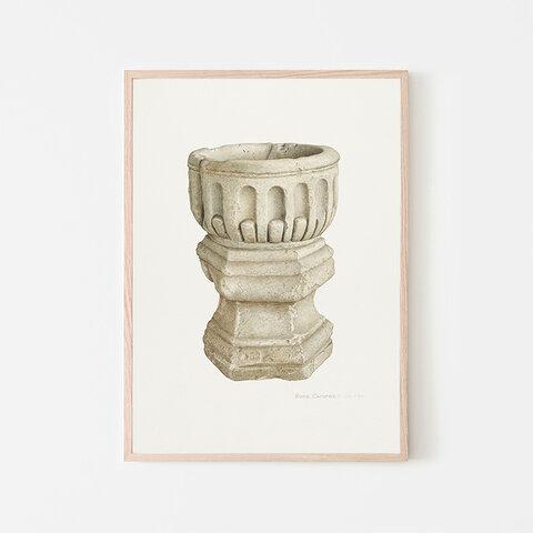 Stone Baptismal Font / アートポスター イラスト ミニマル ベージュ系 2L〜 石 洗礼盤