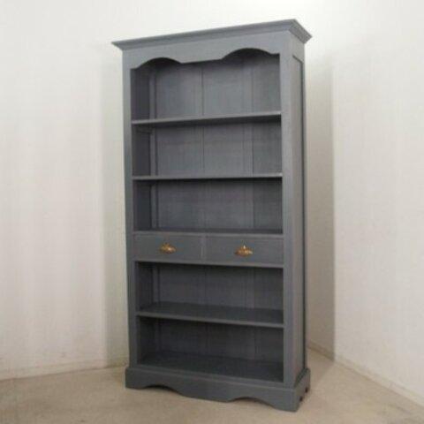 アンティーク調 ブックシェルフ 大型ラック 飾り棚 本棚 什器 グレー