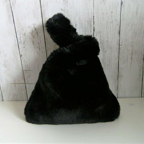 ¶ new antique fur ¶ エコバッグ型エコファーハンドバッグ◆ブラック