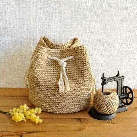 :再…再販:◆巾着バッグ*コロンとした可愛らしい麻ひも巾着バッグ*beans-original*