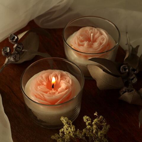 グラス入りが嬉しい♪ 天然ロウの薔薇キャンドル